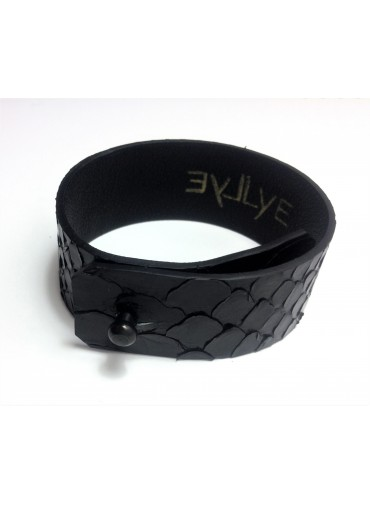 Python leather bracelet 2.5cm - metal fastening