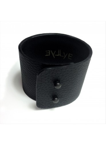 Deer leather bracelet in black 5 cm - metal fastening