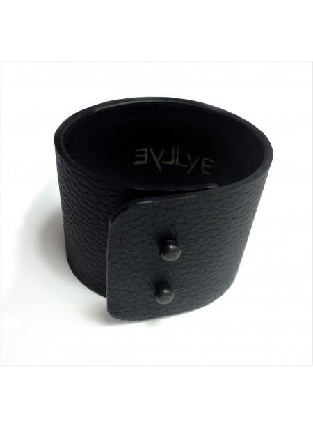 Bracelet en cuir de Cerf noir 5cm - fermeture métal