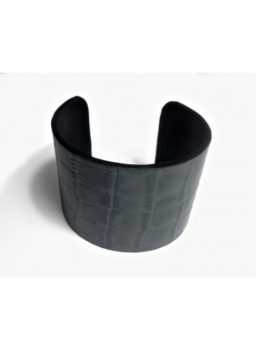 Leather bracelet crocodile patterned 5cm - with metal base