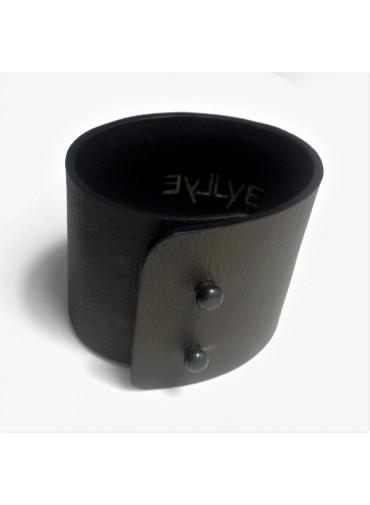 Dark brown Lambskin leather bracelet 5cm - metal fastening