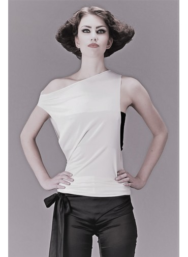 Versatile Tank Top - high cut sides - jersey viscose black or white