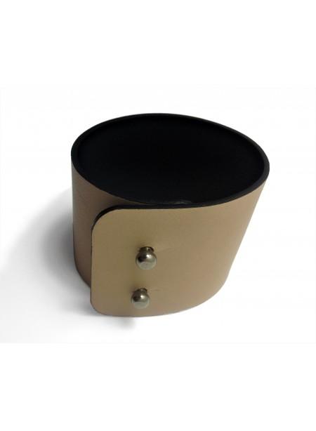 Bracelet cuir d agneau Beige Clair 5cm - fermeture métal