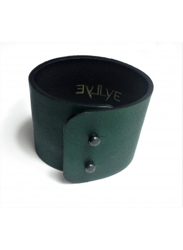 Lambskin leather bracelet in dark green color 5cm - metal fastening