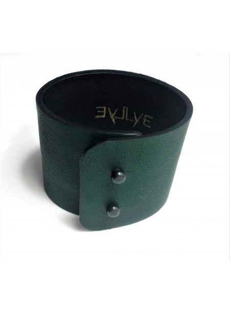 Bracelet cuir d agneau Vert foncé 5cm - fermeture métal
