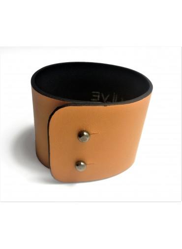 Bracelet Agneau Orange 5cm - fermeture métal