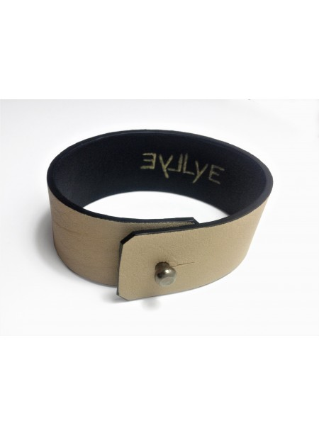 Bracelet Agneau Beige clair 2.5cm - fermeture métal