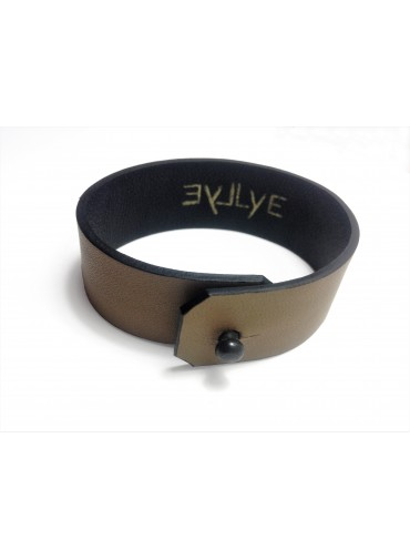 Dark beige Lambskin leather bracelet 2.5cm - metal fastening