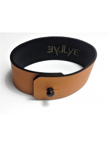 Orange Lambskin leather bracelet 2.5cm - metal fastening