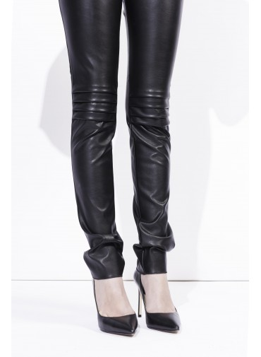 Coated Pants – leather style - pleated on the knees and the waist
