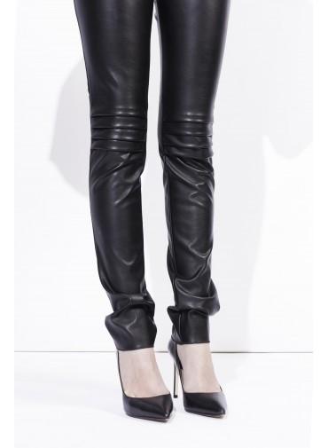 Pantalon enduit - effet cuir - plissé genoux et taille