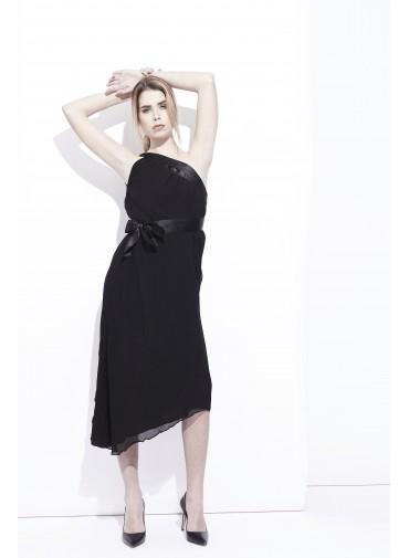 Short asymmetrical dress - versatile - double veil with satin adjustable neckline