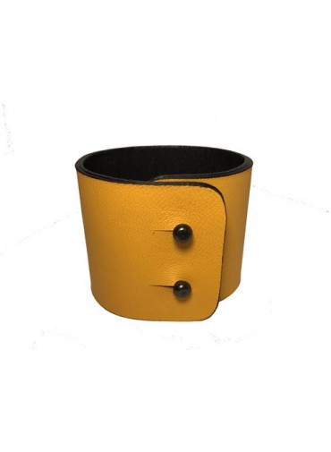 Yellow Lambskin leather Bracelet 5cm - metal fastening