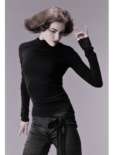 Versatile Top with long sleeves - jersey viscose black