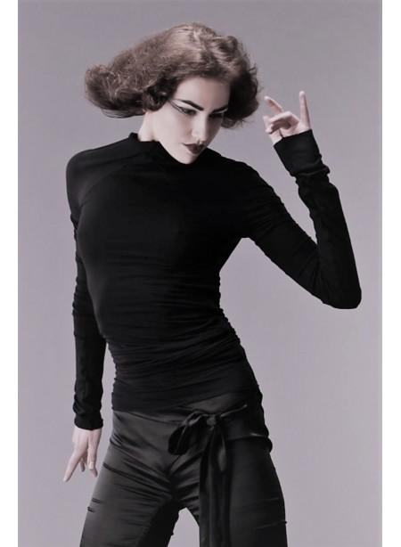 Top manches longues modulable - jersey viscose noir