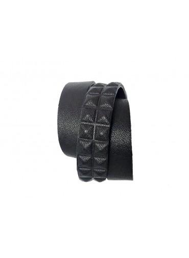 Bracelet cuir triple tour - agneau noir embossée pyramide - 2 rangs