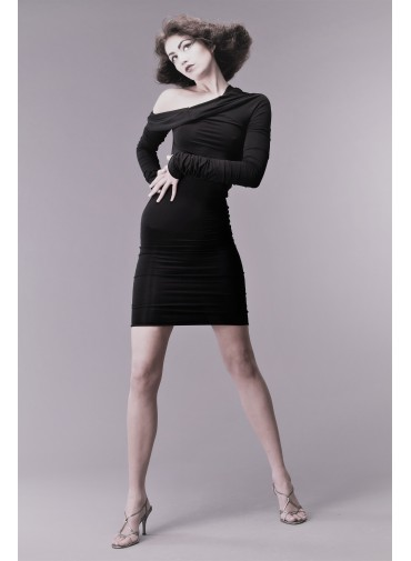 Versatile dress with long sleeves - jersey viscose black