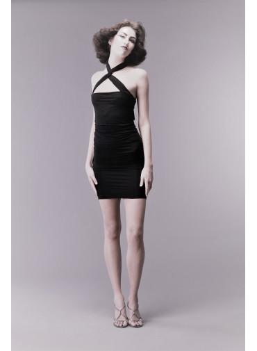 Versatile dress with crossed neckline - jersey viscose black