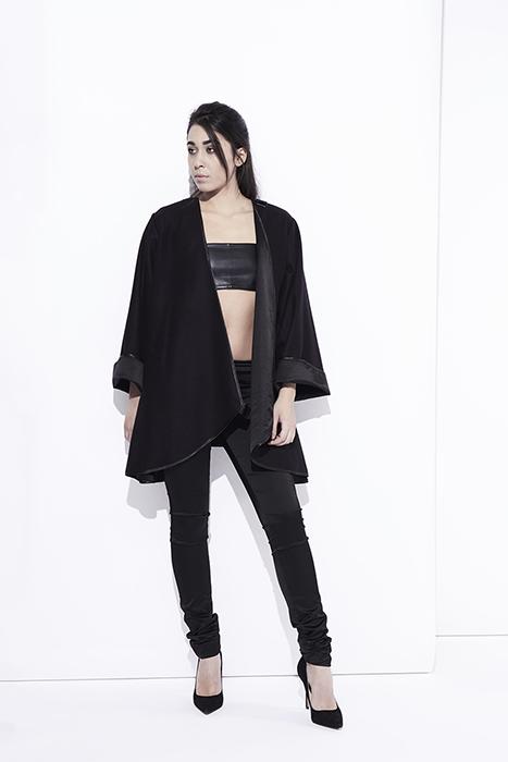 Manteau oversize noir modulable