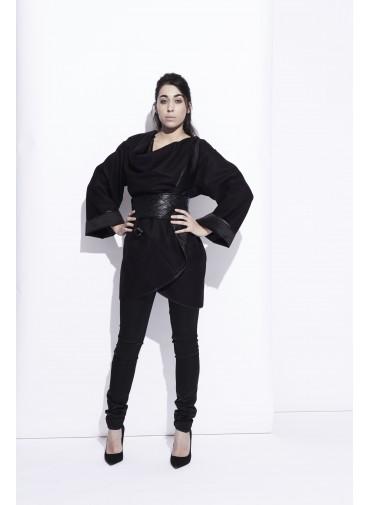 Manteau oversize modulable - décolleté drapé ou croisé
