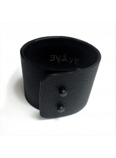 Deer leather bracelet in black 5 cm - metal fastening