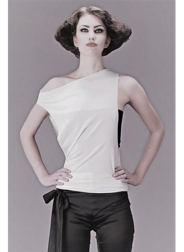 Débardeur modulable - côtés échancrés - jersey viscose noir ou blanc