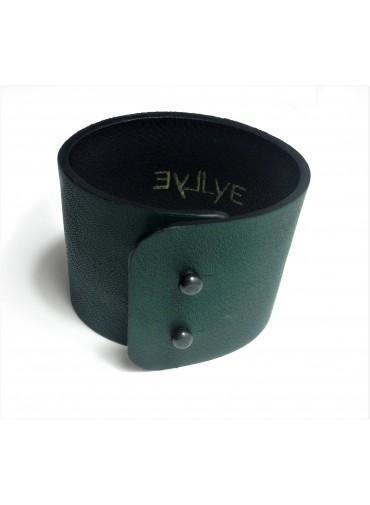 Lambskin leather bracelet in dark green color 5cm - metal fastening