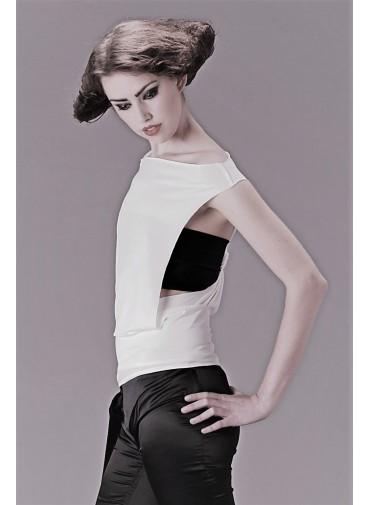 Débardeur modulable - dos torsadé - jersey viscose noir ou blanc