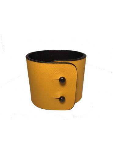 Bracelet cuir Agneau Jaune 5cm - fermeture métal