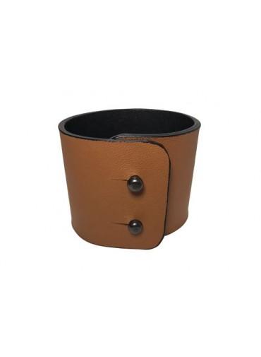 Caramel color lambskin leather bracelet 5cm -metal fastening