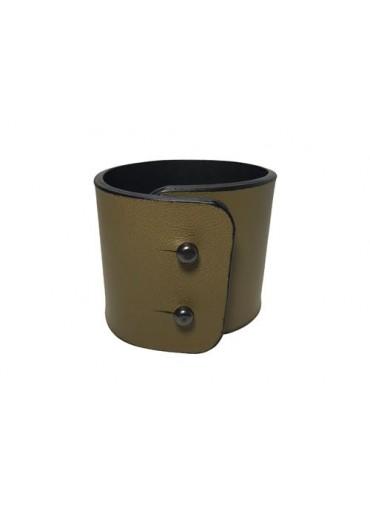 Leather bracelet in kaki color lambskin 5cm - metal fastening
