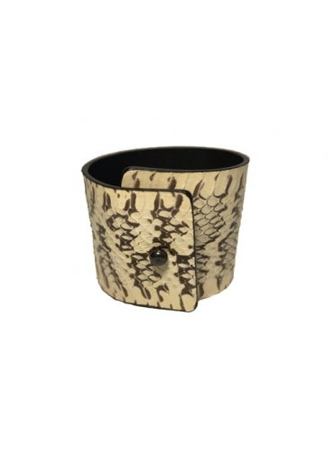 Water snake leather bracelet in  natural color 5-4 cm -metal fastening