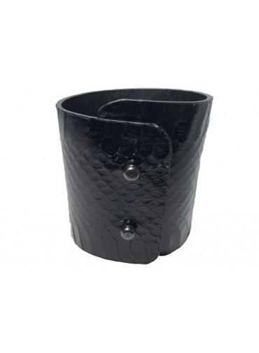 Water snake leather bracelet in shinny black 7-6 cm -metal fastening