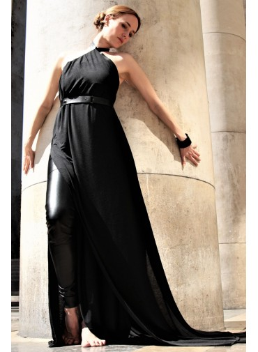 Long multiway dress L EGO - black jersey and leather