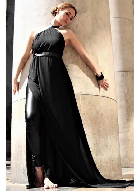 Robe longue modulable L EGO - jersey et cuir noir