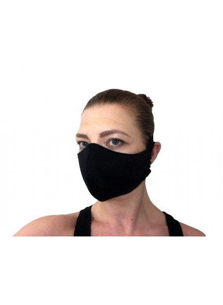 Face Mask in fabric - black stretch cotton