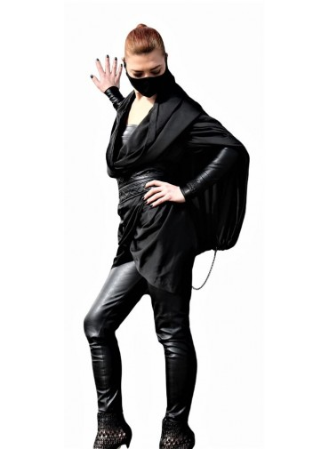 Multiway Top-Dress-Skirt-Cape L EGO - Black silk and metal chain