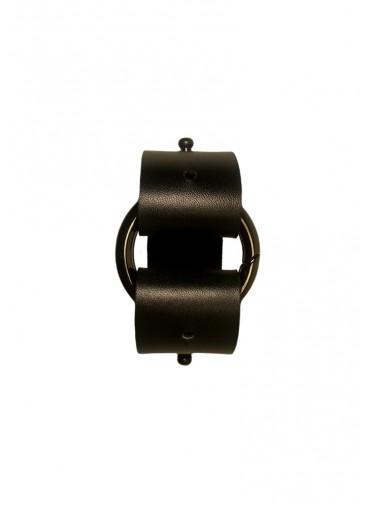 Sangle ajustable cuir vachette noir - extension - ceinture + anneau mousqueton canon de fusil - 3x30cm