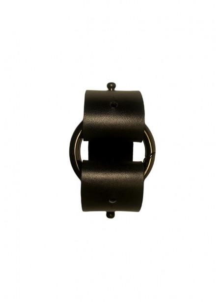 Adjustable black cowhide leather strap - extension - belt + gun metalsnap ring - 3x30cm