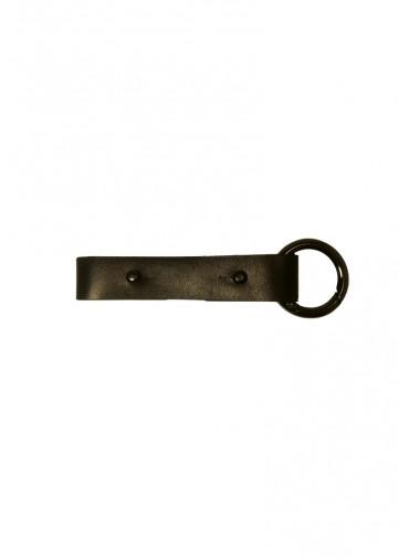 Adjustable black cowhide leather strap - extension - belt -bracelet - Key ring + gun metalsnap ring - 2x20cm