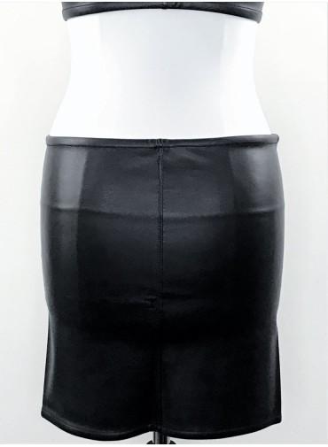 Bandeau jupe - jersey viscose ou enduit noir