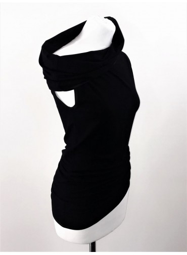 Transformable sleeveless tunique - black jersey viscose