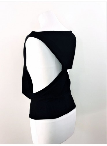 Transformable Tank-top twisted back - black or white jersey viscose