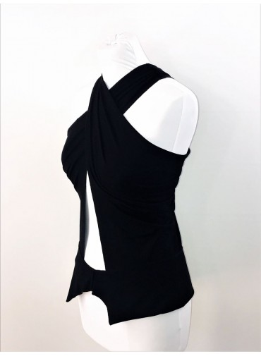 Transformable Top crossed neckline - black or white jersey viscose