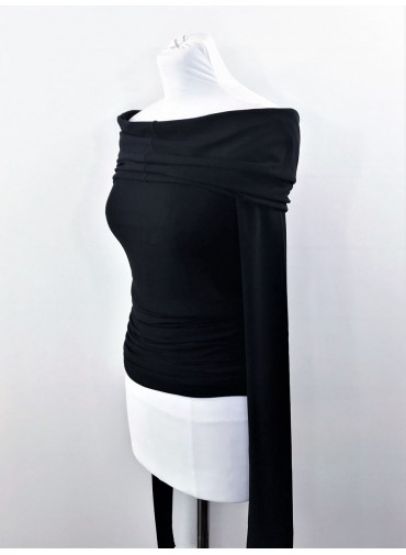 Transformable Top Dress with extralong sleeves - black jersey viscose