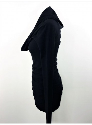 Transformable dress with extralong sleeves - black jersey viscose