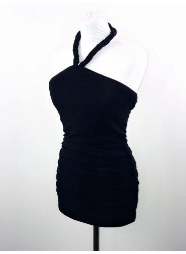 Transformable dress crossed neckline - black jersey viscose