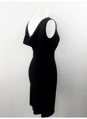 Versatile tunic dress with low-neck - jersey viscose black or white