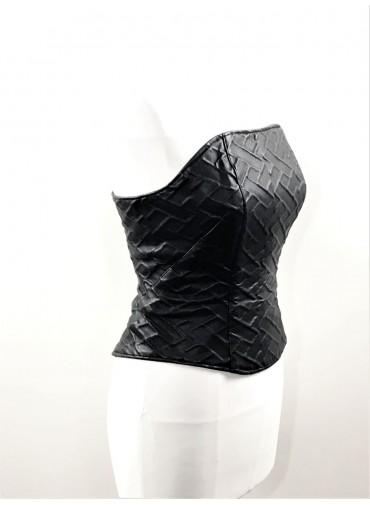 Adjustable Bustier - embossed simili leather