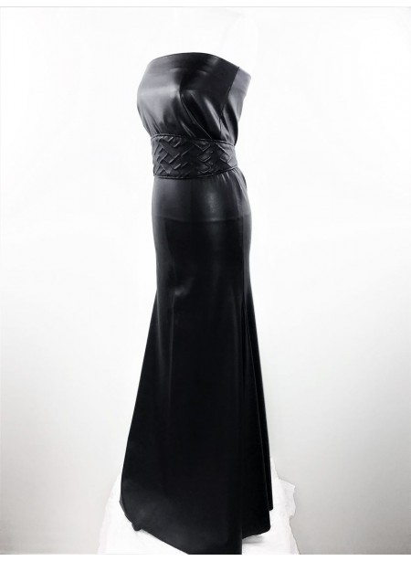 Transformable black long flaired Dresse - coated jersey in leather style